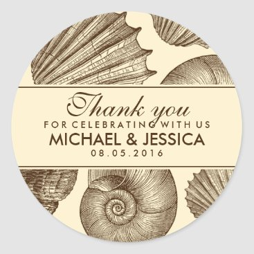 Beach Themed Vintage Seashell Wedding Favor Thank You Sticker