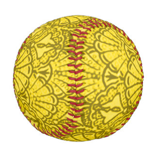 Vintage Seashells Grunge Yellow Baseball