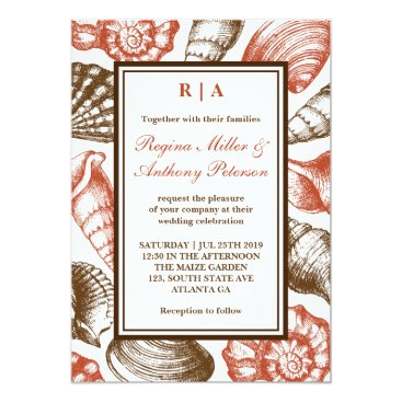 Beach Themed Vintage Seashells Invitation For Beach Wedding