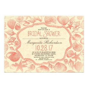 vintage seashells nautical beach bridal shower custom invites