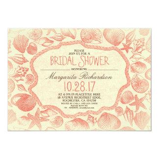 "vintage seashells nautical beach bridal shower 5"" x 7"" invitation card"