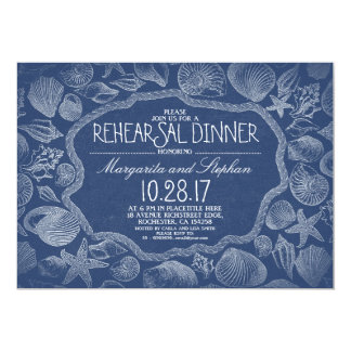 vintage seashells nautical beach rehearsal dinner card