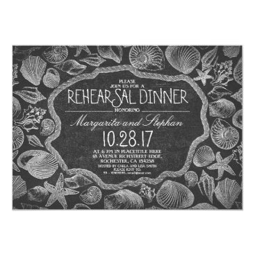 Beach Themed vintage seashells nautical beach rehearsal dinner card