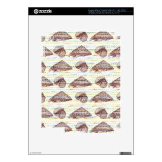 Vintage Seashells Pattern Skins For iPad 3