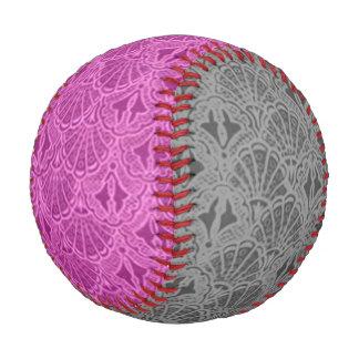 Vintage Seashells Pink and Gray Baseball
