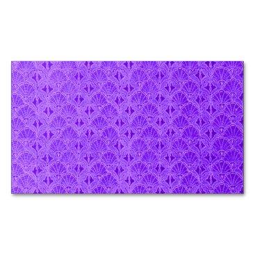 Beach Themed Vintage Seashells Purple Business Card Magnet