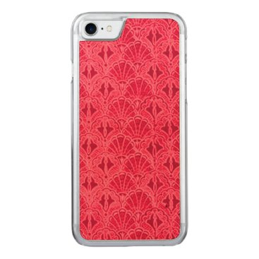 Beach Themed Vintage Seashells Red Carved iPhone 7 Case