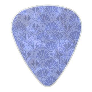 Vintage Seashells Sapphire Blue Pearl Celluloid Guitar Pick