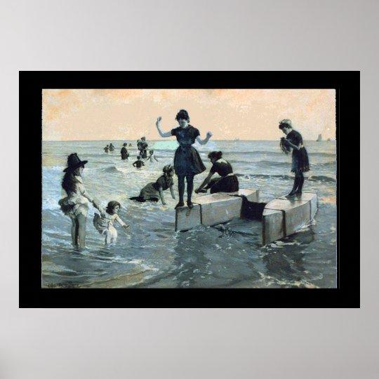 Vintage Seashore Bathing circa 1900 Poster