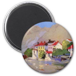 Vintage Seaside Village Italy Tourism Magnet