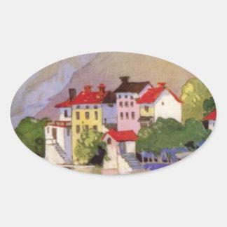 Vintage Seaside Village Italy Tourism Oval Sticker