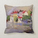 Vintage Seaside Village Italy Tourism Throw Pillow