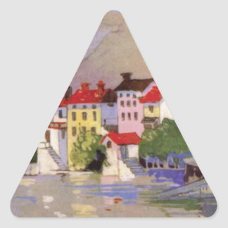 Vintage Seaside Village Italy Tourism Triangle Sticker