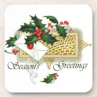 Vintage Seasons Greetings Drink Coaster