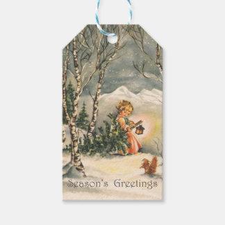 Vintage Season's Greetings Girl Tree Gift Tags