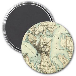 Vintage Seattle Map 3 Inch Round Magnet