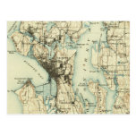 Vintage Seattle Map Post Card