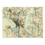 Vintage Seattle Map Postcard