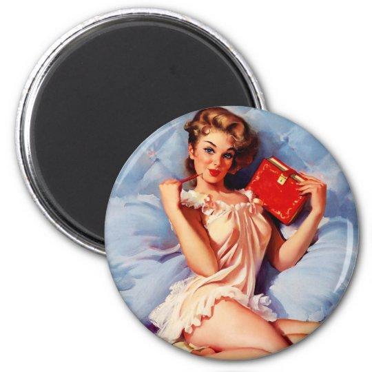 Vintage Secret Diary Gil Elvgren Pin Up Girl Magnet