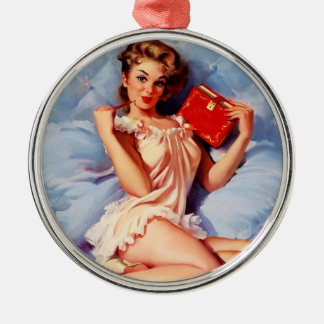 Vintage Secret Diary Gil Elvgren Pin Up Girl Metal Ornament