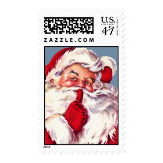 Vintage Secret Santa Christmas Postage Stamp