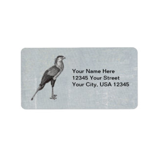 Vintage Secretary Bird Address Label