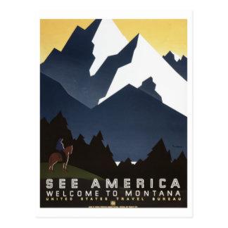 Vintage See America Montana WPA Travel Postcard