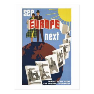 Vintage See Europe Next Travel Postcard