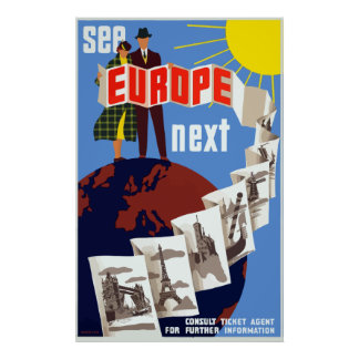 Vintage See Europe Next Travel Poster