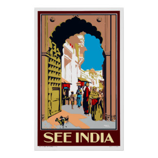 Vintage See India Travel Poster