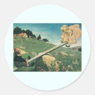 Vintage See Saw Margery Daw, Jessie Willcox Smith Classic Round Sticker