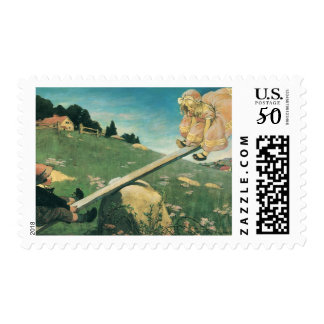 Vintage See Saw Margery Daw, Jessie Willcox Smith Postage