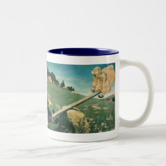 Vintage See Saw Margery Daw, Jessie Willcox Smith Two-Tone Coffee Mug