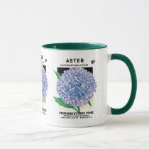 Vintage Seed Packet Art, Purple Aster Flowers Mug