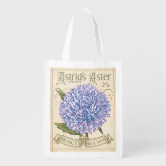 Vintage Seed Packet, Aster, grocery bag