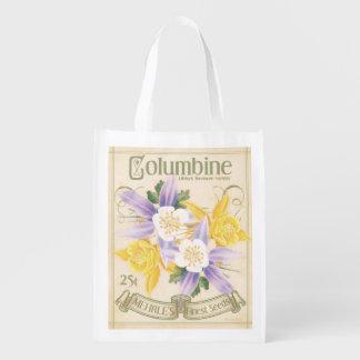 Vintage Seed Packet, Columbine, grocery bag