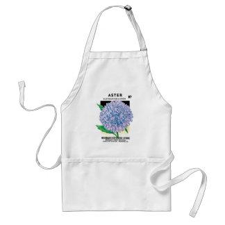Vintage Seed Packet Label Art, Aster Flowers Adult Apron