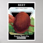 Vintage Seed Packet Label Art, Beet Vegetables Poster