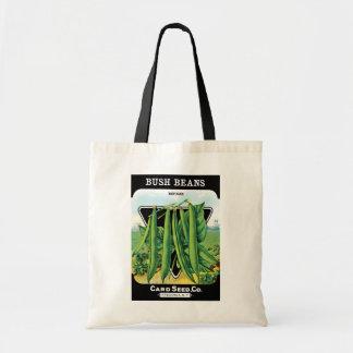 Vintage Seed Packet Label Art, Bush Bean Veggies Budget Tote Bag