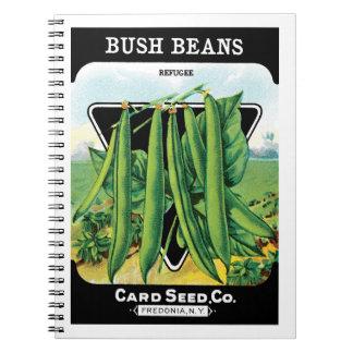 Vintage Seed Packet Label Art, Bush Bean Veggies Notebook