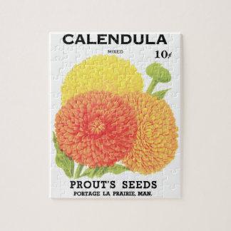 Vintage Seed Packet Label Art, Calendula Flowers Jigsaw Puzzle