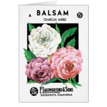 Vintage Seed Packet Label Art, Camellia Flowers