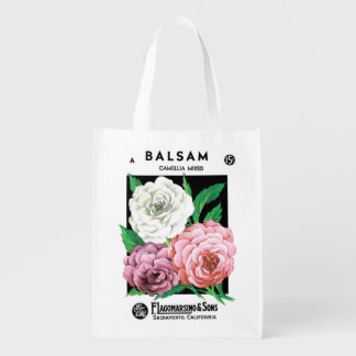 Vintage Seed Packet Label Art, Camellia Flowers Grocery Bag