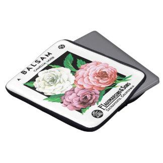 Vintage Seed Packet Label Art, Camellia Flowers Laptop Sleeve