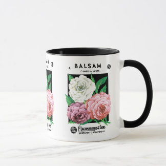 Vintage Seed Packet Label Art, Camellia Flowers Mug