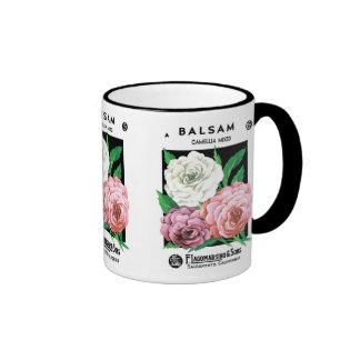 Vintage Seed Packet Label Art, Camellia Flowers Ringer Mug