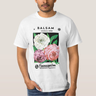 Vintage Seed Packet Label Art, Camellia Flowers T-Shirt