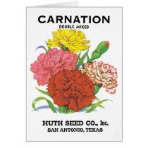 Vintage Seed Packet Label Art, Carnation Flowers