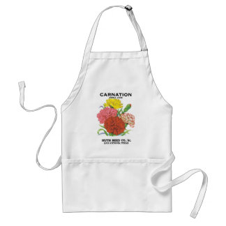 Vintage Seed Packet Label Art, Carnation Flowers Adult Apron