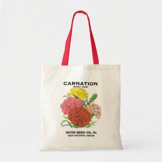 Vintage Seed Packet Label Art, Carnation Flowers Budget Tote Bag